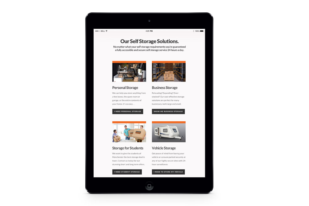 easy access iPad web design